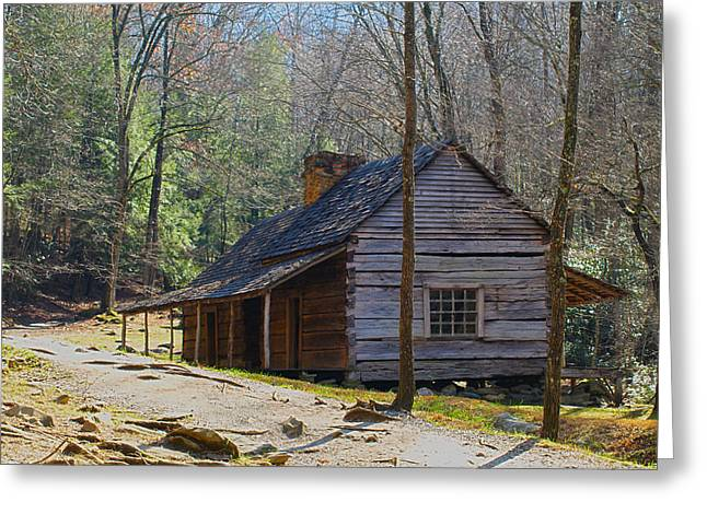 Historic Cabin On Roaring Fork Motor Trail In Gatlinburg Tennessee  Greeting Card