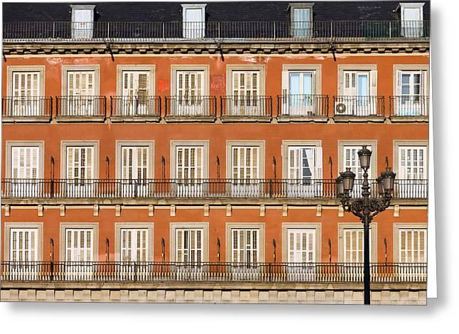 Historic Facade At Plaza Mayor In Madrid Greeting Card