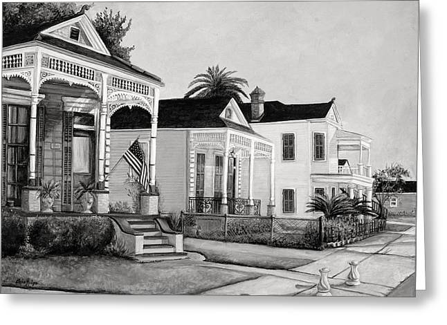 Historic Louisiana Homes In Black And White Greeting Card by Elaine Hodges