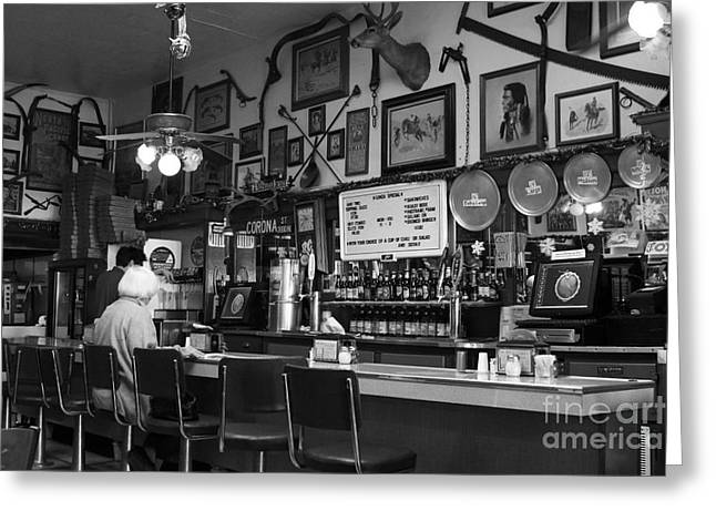 Historic Niles District In California Near Fremont . Bronco Billys Pizza Palace . 7d10707 . Bw Greeting Card by Wingsdomain Art and Photography