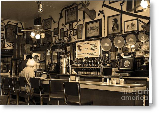 Historic Niles District In California Near Fremont . Bronco Billys Pizza Palace . 7d10707 . Sepia Greeting Card by Wingsdomain Art and Photography