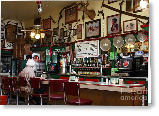 Historic Niles District In California Near Fremont . Bronco Billys Pizza Palace . 7d10707 Greeting Card by Wingsdomain Art and Photography