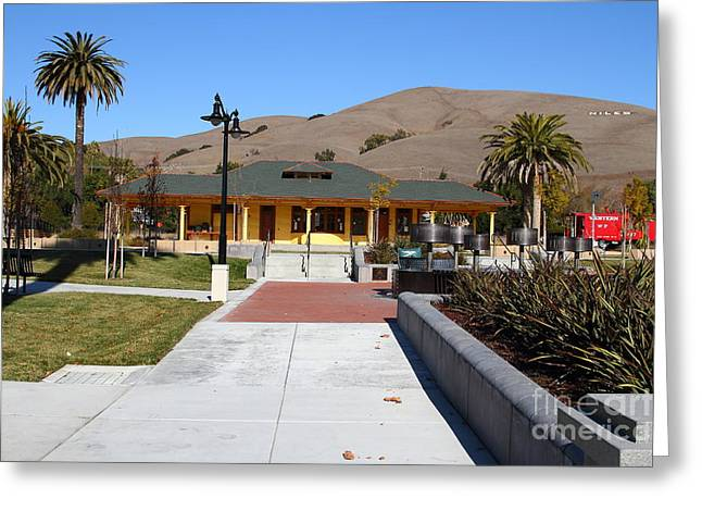 Historic Niles District In California Near Fremont . Niles Depot Museum And Niles Town Plaza.7d10697 Greeting Card