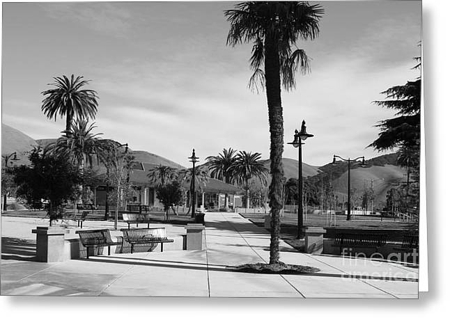 Historic Niles District In California Near Fremont . Niles Depot Museum And Town Plaza.7d10651.bw Greeting Card by Wingsdomain Art and Photography