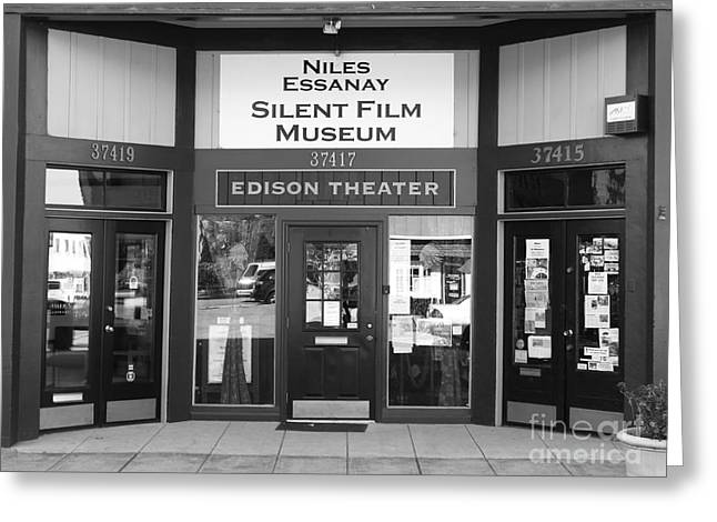 Historic Niles District In California Near Fremont . Niles Essanay Silent Film Museum . 7d10684 Bw Greeting Card