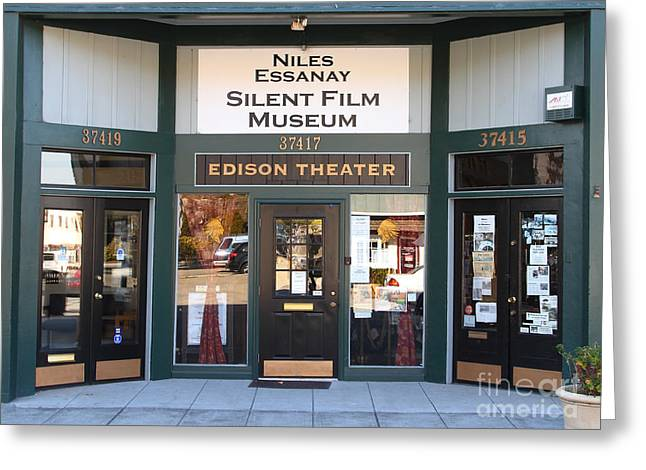 Historic Niles District In California Near Fremont . Niles Essanay Silent Film Museum Edison Theater Greeting Card