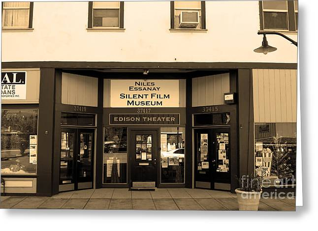 Historic Niles District In California Near Fremont . Niles Essanay Silent Film Museum.7d10683.sepia Greeting Card by Wingsdomain Art and Photography