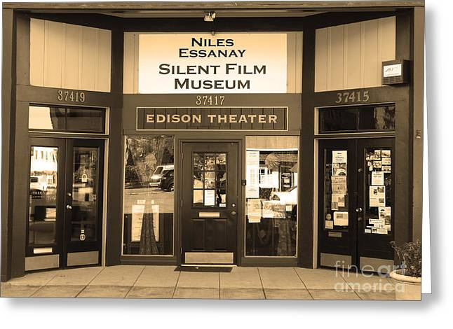 Historic Niles District In California Near Fremont . Niles Essanay Silent Film Museum.7d10684.sepia Greeting Card by Wingsdomain Art and Photography