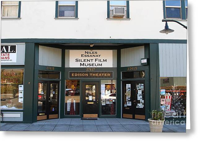Historic Niles District In California Near Fremont . Niles Essanay Silent Film Museum.edison Theater Greeting Card