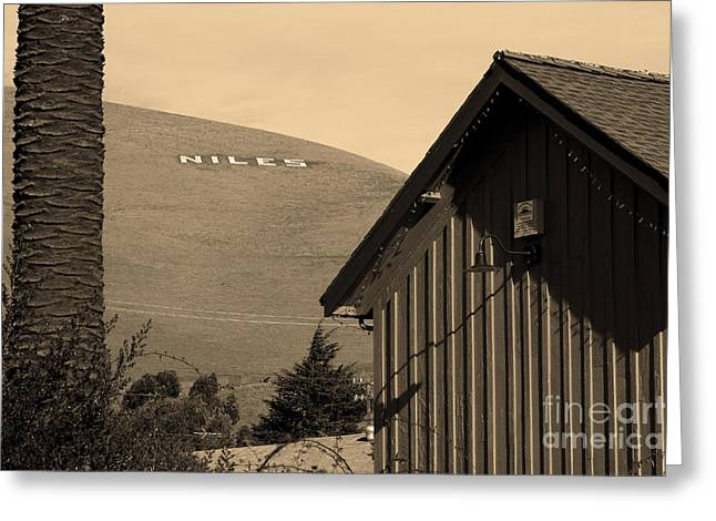 Historic Niles District In California Near Fremont . Niles Letters From Niles Town Plaza . Sepia Greeting Card