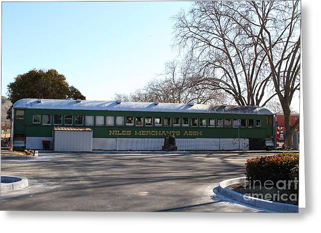 Historic Niles District In California Near Fremont . Niles Merchants Association Train Office . 7d10 Greeting Card