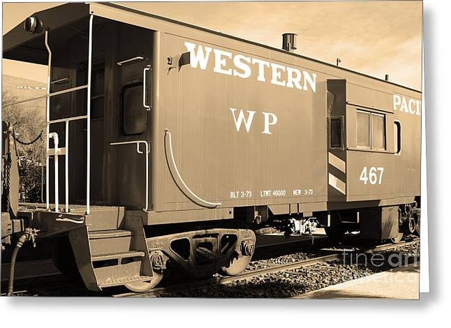 Historic Niles District In California Near Fremont . Western Pacific Caboose Train . 7d10627 . Sepia Greeting Card by Wingsdomain Art and Photography