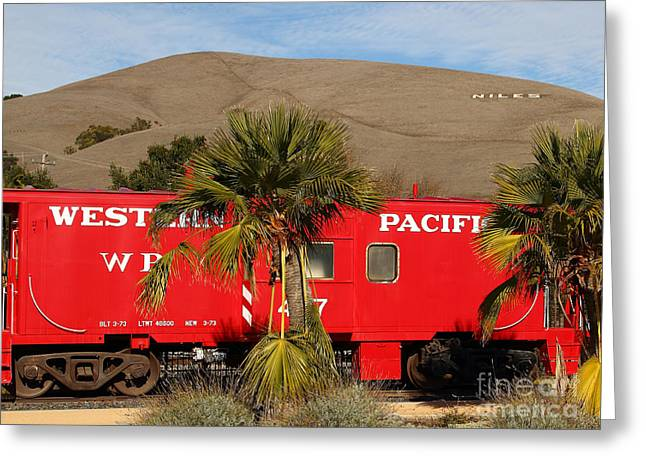 Historic Niles District In California Near Fremont . Western Pacific Caboose Train . 7d10718 Greeting Card