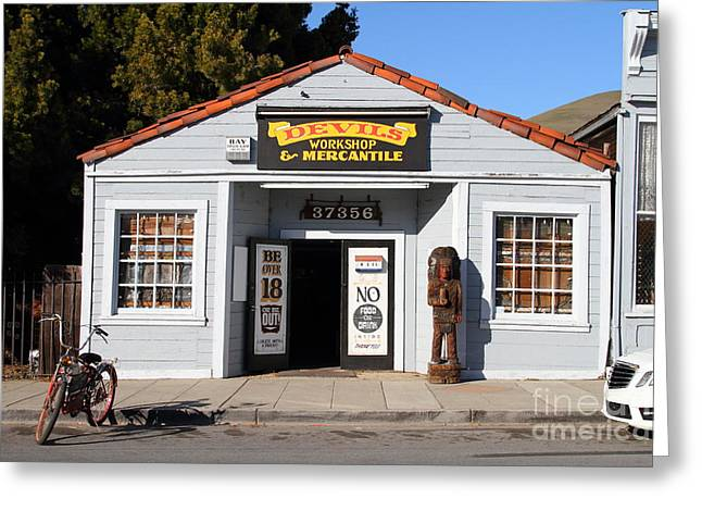 Historic Niles District In California.motorized Bike Outside Devils Workshop And Mercantile.7d12727 Greeting Card