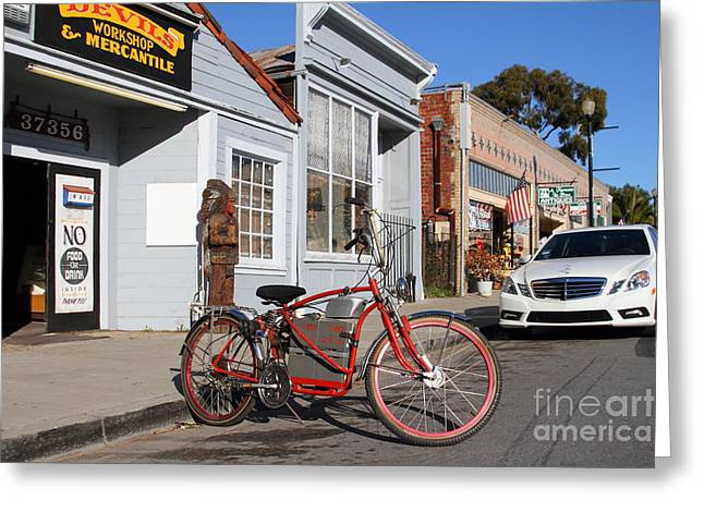 Historic Niles District In California.motorized Bike Outside Devils Workshop And Mercantile.7d12729 Greeting Card