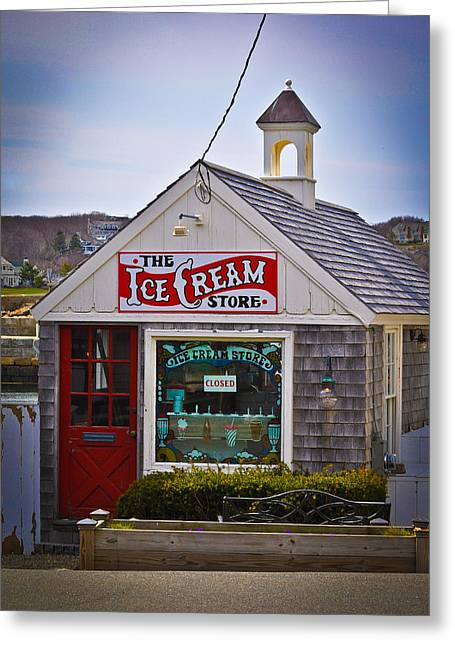 Historic Rockport Center Greeting Card by Erica McLellan