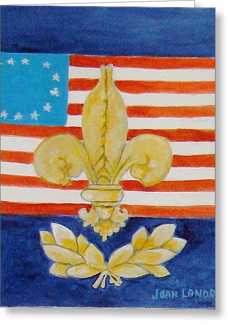 Historic Symbols Greeting Card by Joan Landry