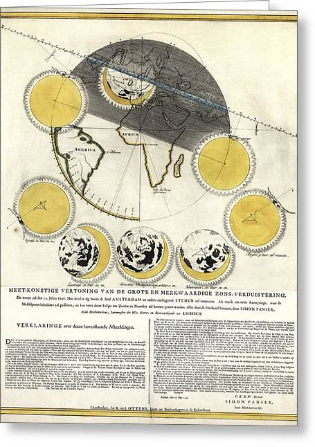 Historical Artwork Of A Solar Eclipse Greeting Card by Library Of Congress