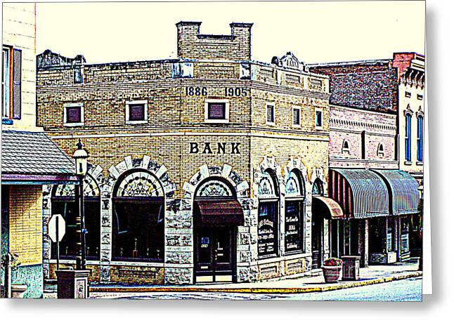 Historical Bank Building Greeting Card by Kathy  White