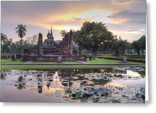 Historical Temple Park In Thailand. Greeting Card by Anek Suwannaphoom