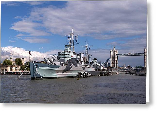 Hms Belfast Greeting Card by Sharon Lisa Clarke