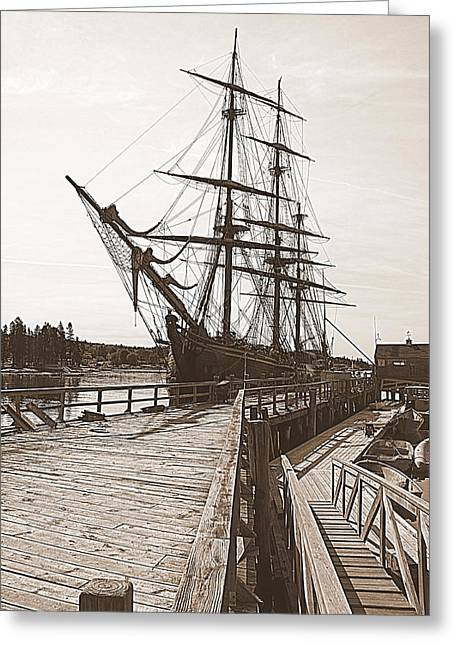 Hms Bounty At The Dock Greeting Card by Doug Mills
