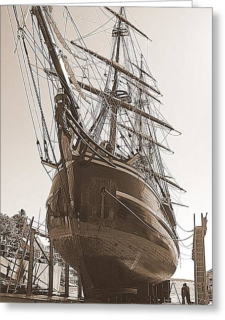 Hms Bounty Haul Out Greeting Card by Doug Mills
