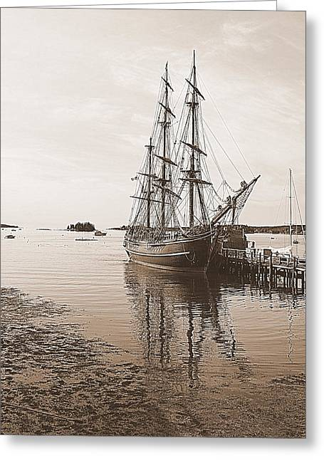 Hms Bounty Preparing To Set Sail Greeting Card by Doug Mills