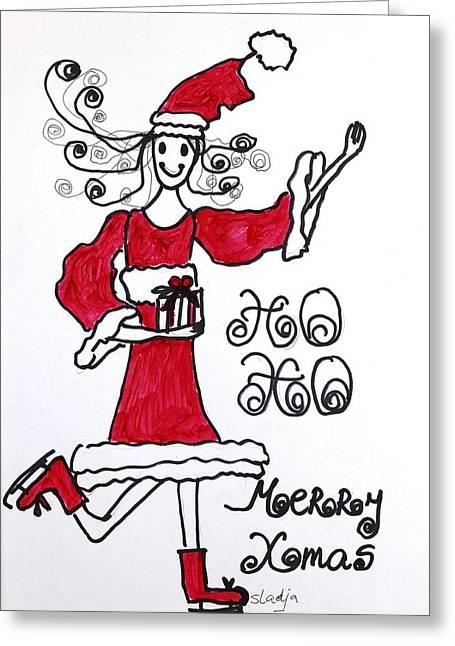 Ho Ho Greeting Card by Sladjana Lazarevic