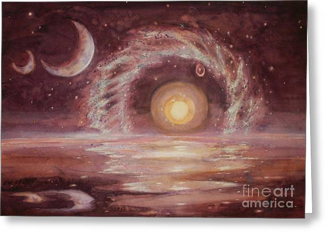 Hoag's Object And Two Moons Over Ocean Greeting Card