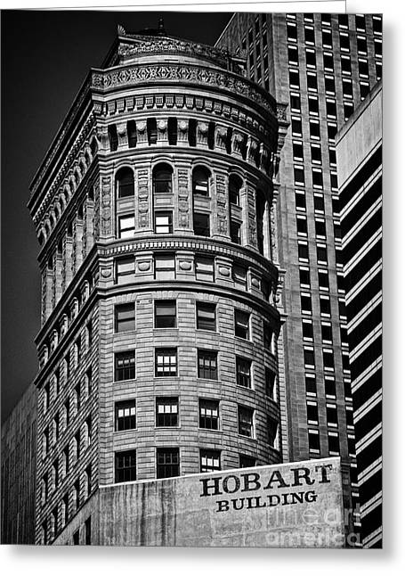 Hobart Building In San Francisco - Black And White Greeting Card