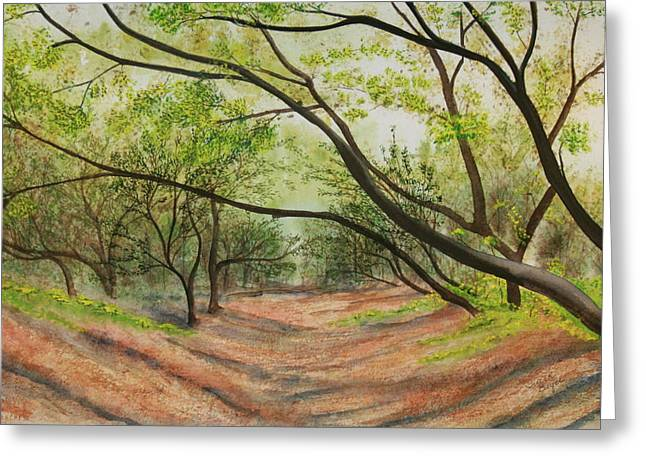Greeting Card featuring the painting Hobo Jungle by Teresa Beyer