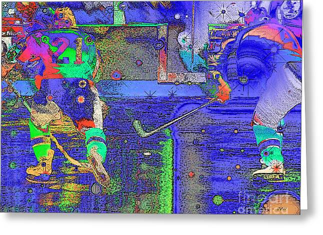 Hockey Abstract Greeting Card by Rod Seeley