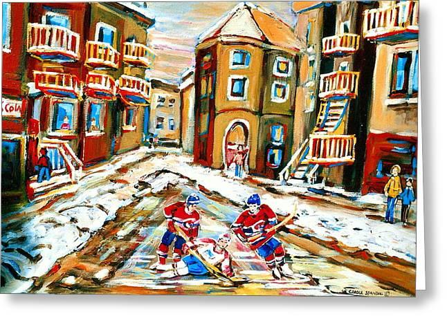 Hockey Art Hockey Game Plateau Montreal Street Scene Greeting Card by Carole Spandau