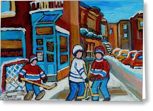 Hockey Game Corner Clark And Fairmount Wilenskys Paintings Greeting Card by Carole Spandau