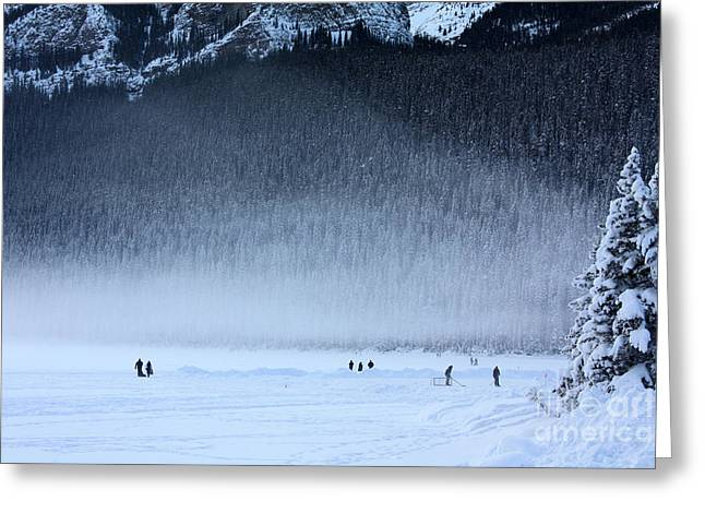 Greeting Card featuring the photograph Hockey On Lake Louise by Alyce Taylor