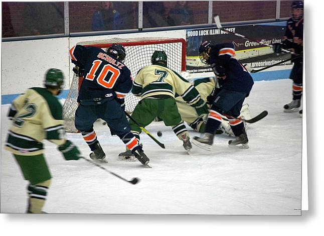 Hockey Two On Two Greeting Card by Thomas Woolworth