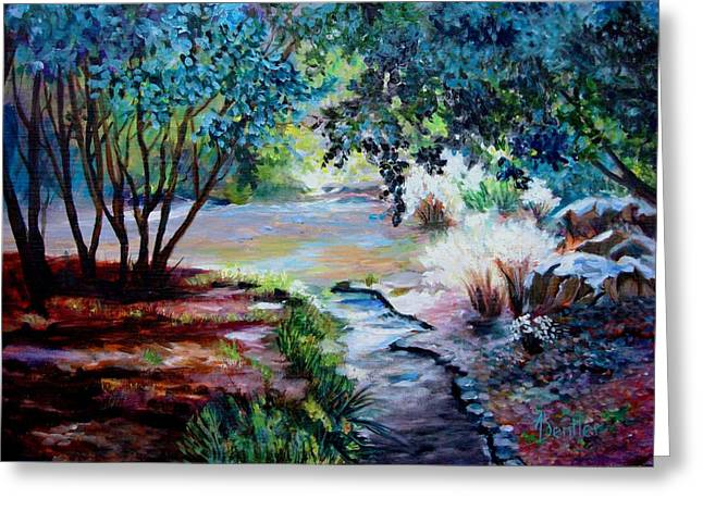 Greeting Card featuring the painting Hodges Garden Stream by AnnE Dentler