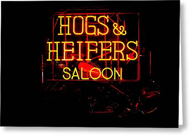 Hogs And Heifers Greeting Card by Bobby Deal