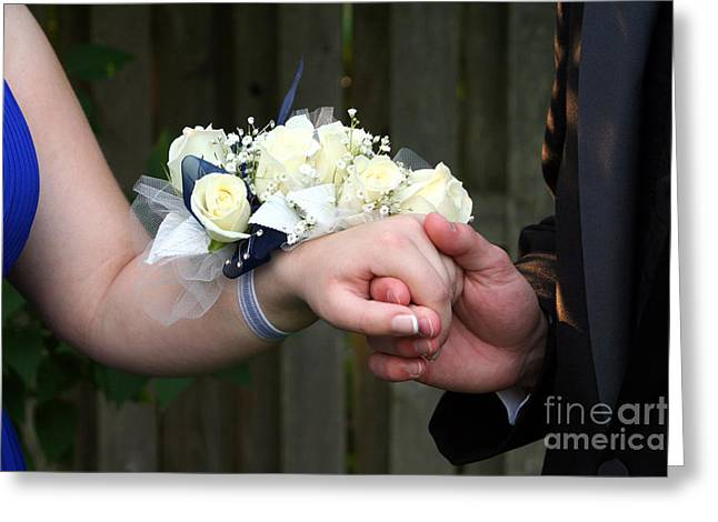 Holding Hand With Wrist Corsage Greeting Card