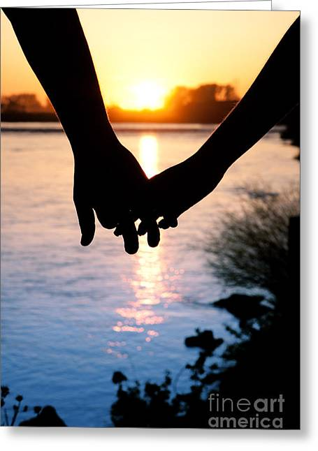 Holding Hands Silhouette Greeting Card