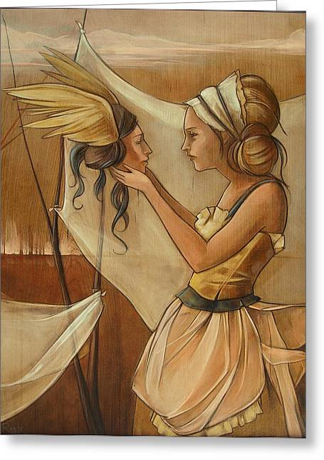 Holding On To Hard Greeting Card by Jacque Hudson