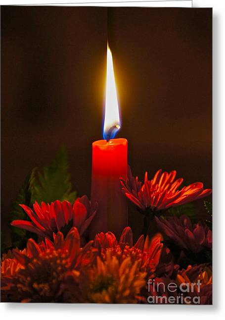 Holiday Candle Greeting Card by Sean Griffin