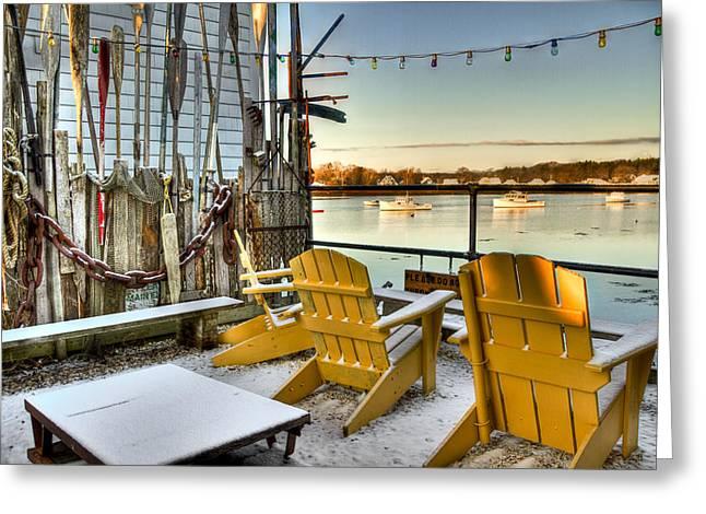 Holiday Harbor Greeting Card by Brenda Giasson
