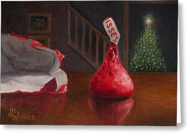 Greeting Card featuring the painting Holiday Kiss by Joe Winkler