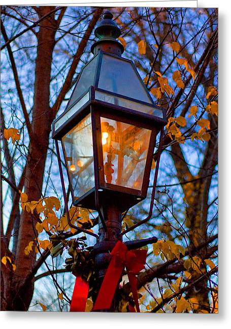 Holiday Streetlamp Greeting Card by Joann Vitali
