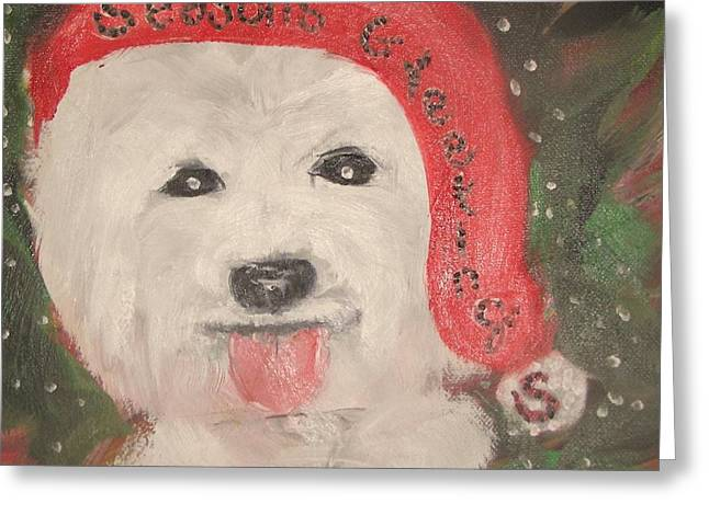 Holiday Westie Greeting Card by Rachel Carmichael