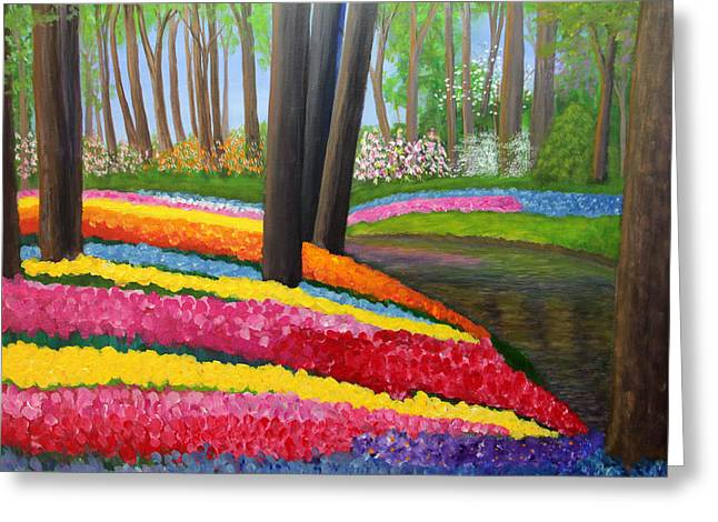 Greeting Card featuring the painting Holland Gardens by Janet Greer Sammons