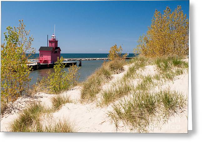 Greeting Card featuring the photograph Holland Mi Lighthouse by Larry Carr