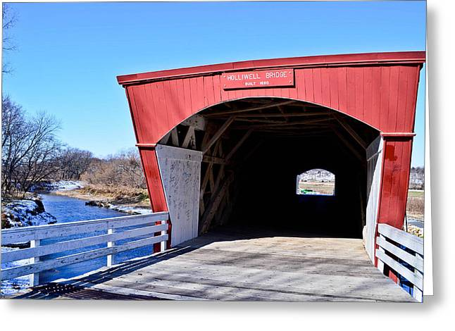 Holliwell Covered Bridge Greeting Card by Julio n Brenda JnB